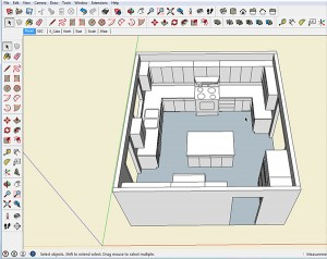 SketchUp provides the best of both worlds, a 3D presentation and detailed information about each and every part in this kitchen model.