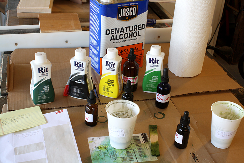 supplies for mixing colors to dye wood with RIT