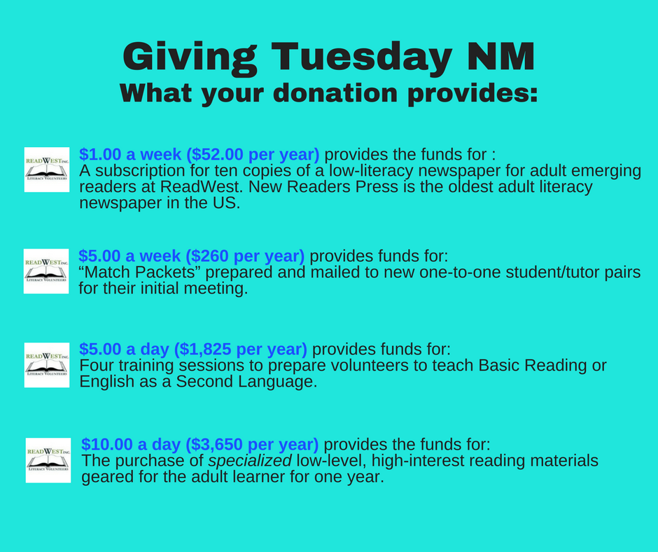 Giving Tuesday NM ReadWest What Your Donation Provides