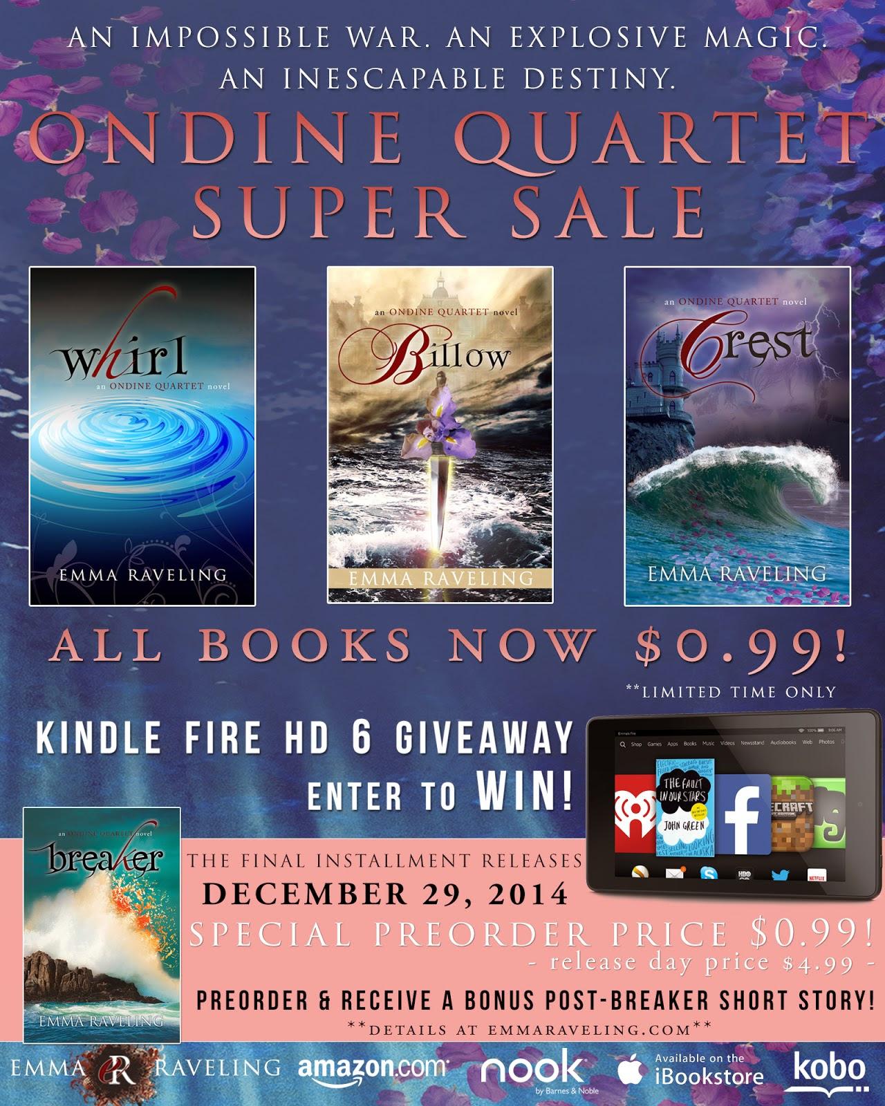 Ondine Quartet Sale + Kindle Fire HD 6 Giveaway!!!