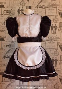 """""""Betty"""" French Maid Dress in Satin With Removable Half Apron 2"""