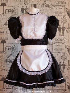 """Betty"" French Maid Dress in Satin With Removable Half Apron 1"