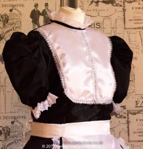 """Betty"" French Maid Dress in Satin With Removable Half Apron 5"