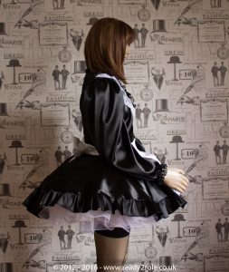 """""""Starre"""" (Deluxe) French Maid Sissy Dress in Black Satin With Removable Half Apron 4"""