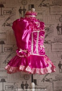 "The Candy Cupcake Corseted Sissy Dress in Satin with ""Bow Peek"" Front 3"