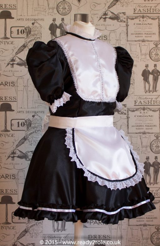 """""""Betty"""" French Maid Dress in Satin With Removable Half Apron 3"""