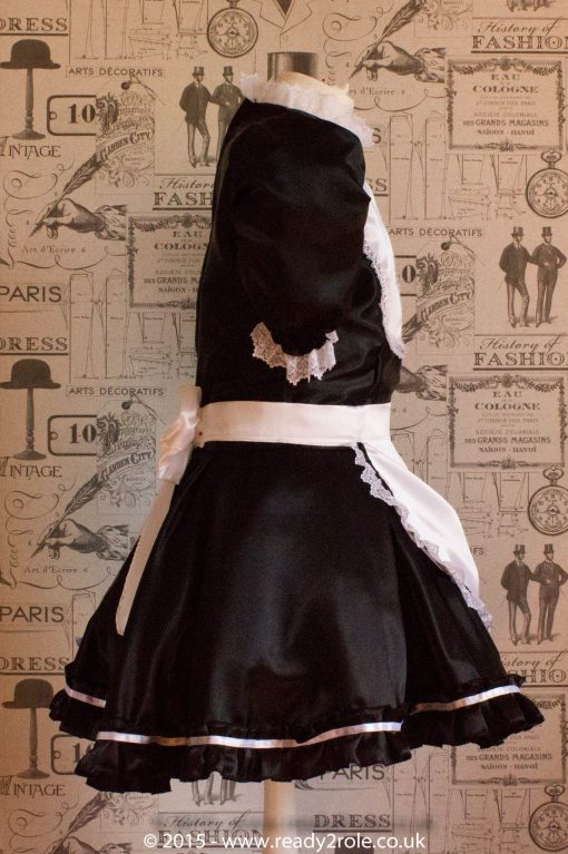 """""""Betty"""" French Maid Dress in Satin With Removable Half Apron 6"""