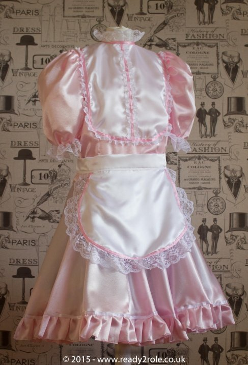 """Betty"" French Maid Dress in Pink Satin With Removable Half Apron 2"