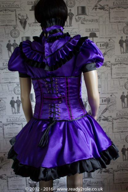 Candy Cupcake Corseted Sissy (Purple & Black) Satin Dress 6