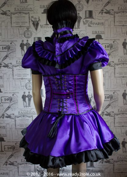 Candy Cupcake Corseted Sissy (Purple & Black) Satin Dress 2