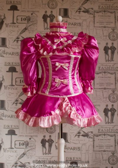 "The Candy Cupcake Corseted Sissy Dress in Satin with ""Bow Peek"" Front 1"