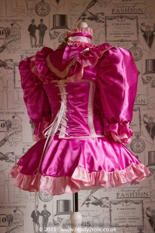 "The Candy Cupcake Corseted Sissy Dress in Satin with ""Bow Peek"" Front 4"