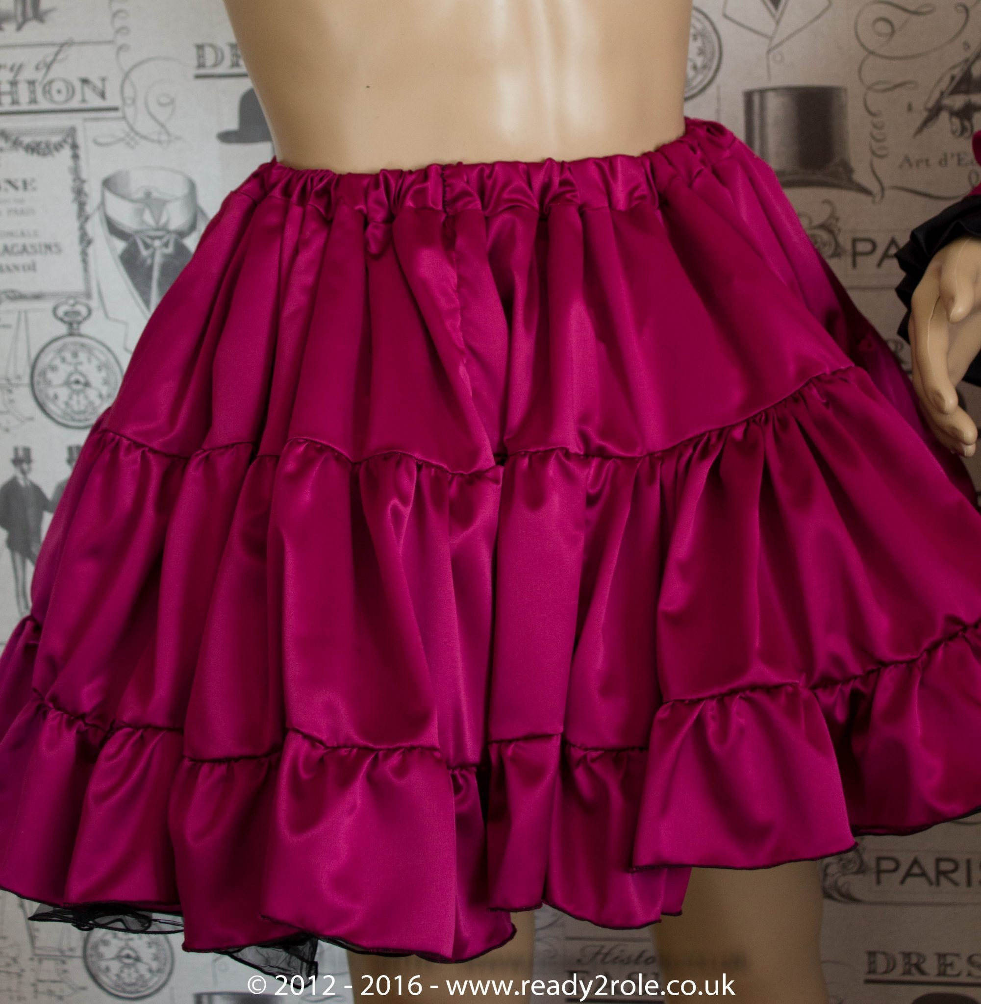 Sissy Frilly Hand Crafted Petticoat (Burgundy) – Above Knee Length