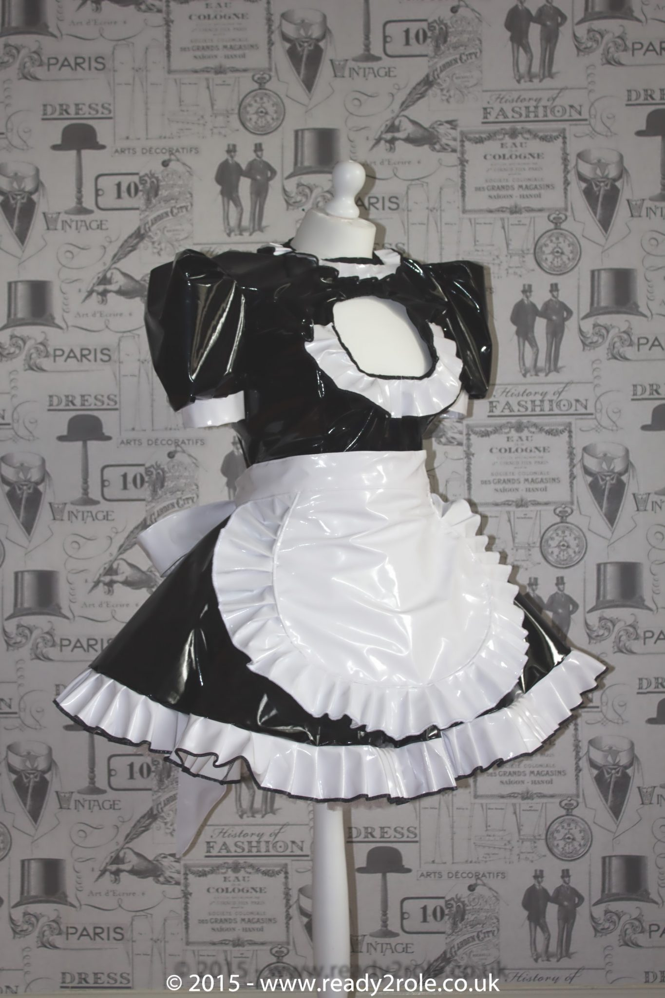 """The """"Vikki More"""" Sissy PVC Maid Dress With Half Apron – Black & White Version – Ask About Colours"""