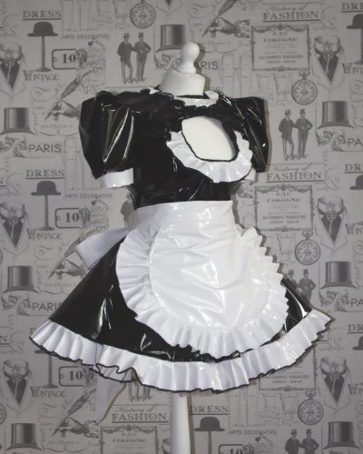 "The ""Vikki More"" Sissy PVC Maid Dress With Half Apron – Black & White Version – Ask About Colours 1"