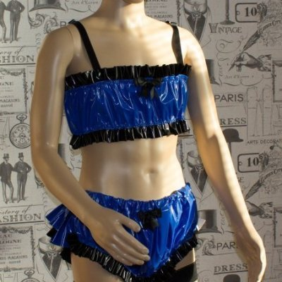 "The ""K"" Bra & Panty Set in PVC – Blue & Black Ruffle Version – Ask About Colours 1"