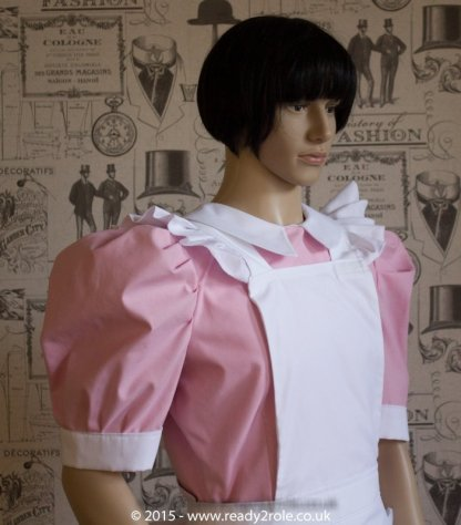 FPJ Full Service Cotton Sissy Maids Dress With Full Apron Pink Version 2