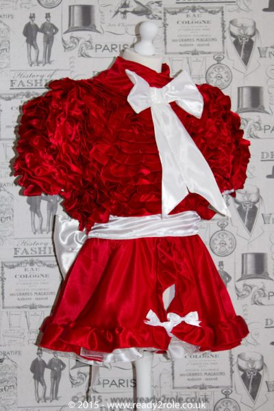 Bow Peek Sissy Satin Ruffle Dress – Red Version 1