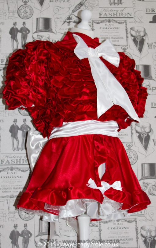 Bow Peek Sissy Satin Ruffle Dress – Red Version 3