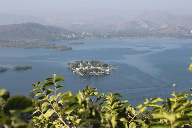 The lake in Udaipur. Taj Hotel in the middle is an extremely exclusive hotel only for guests!