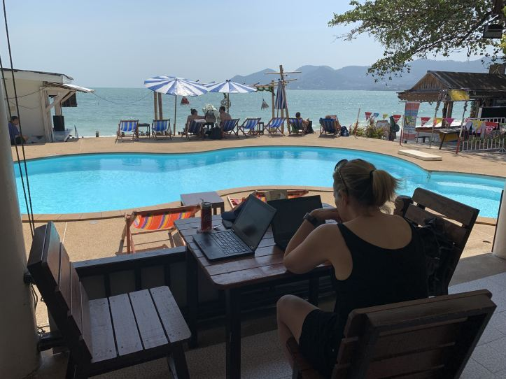 Digital nomad Working by the pool