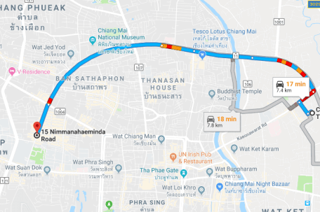 Map from Nimman to Chiang Mai bus terminal 3