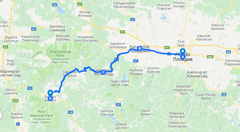 Bus Route Plovdiv to Bansko Bulgaria