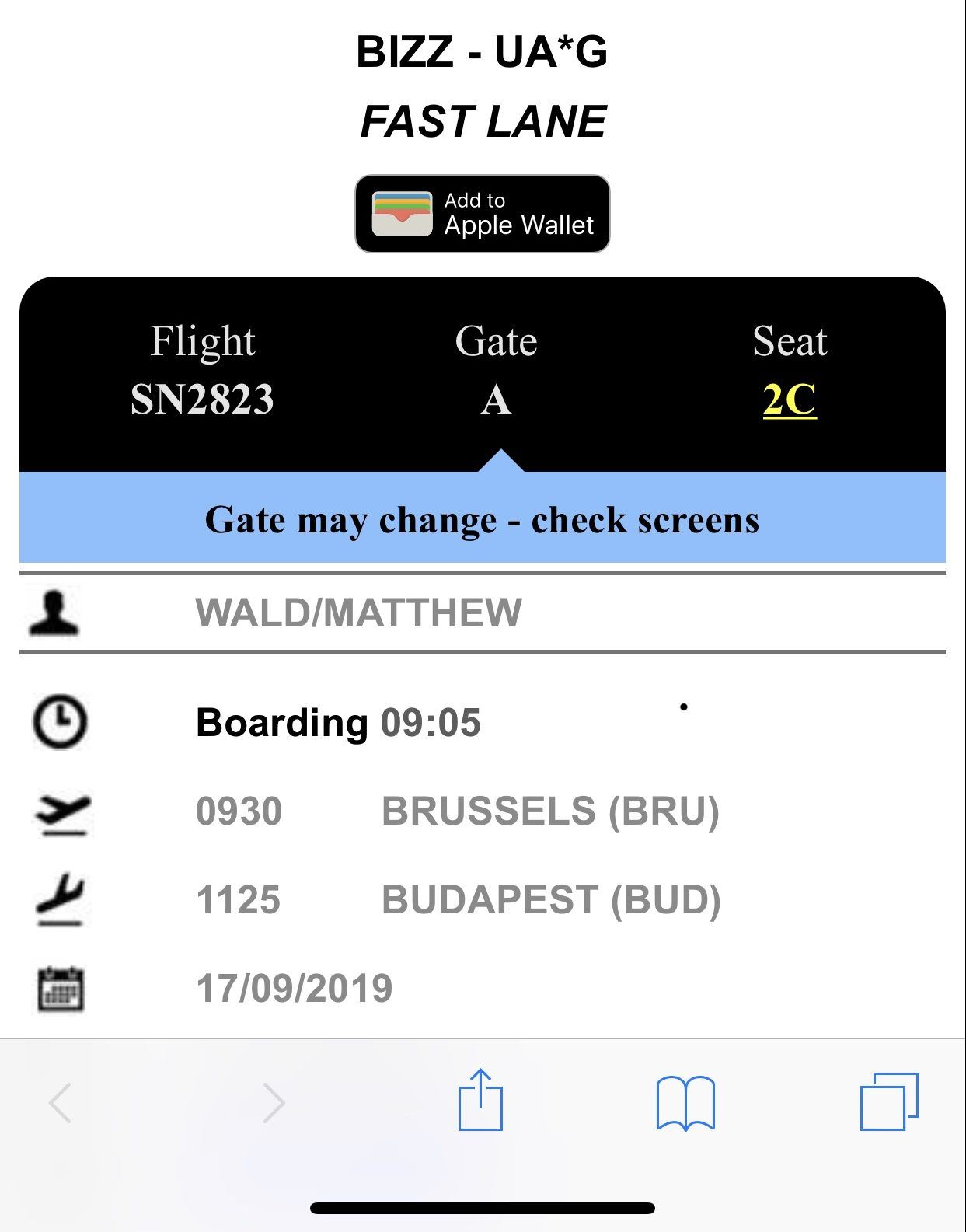 Brussels Airlines Business Class Boarding Pass BRU-BUD