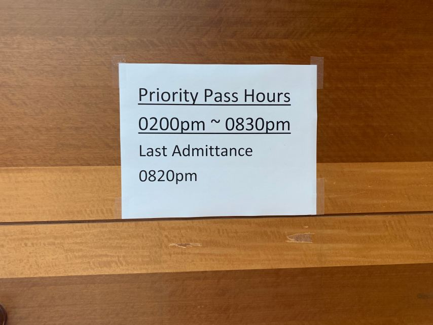 Priority Pass JFK Terminal 1 KAL Lounge Entry Times