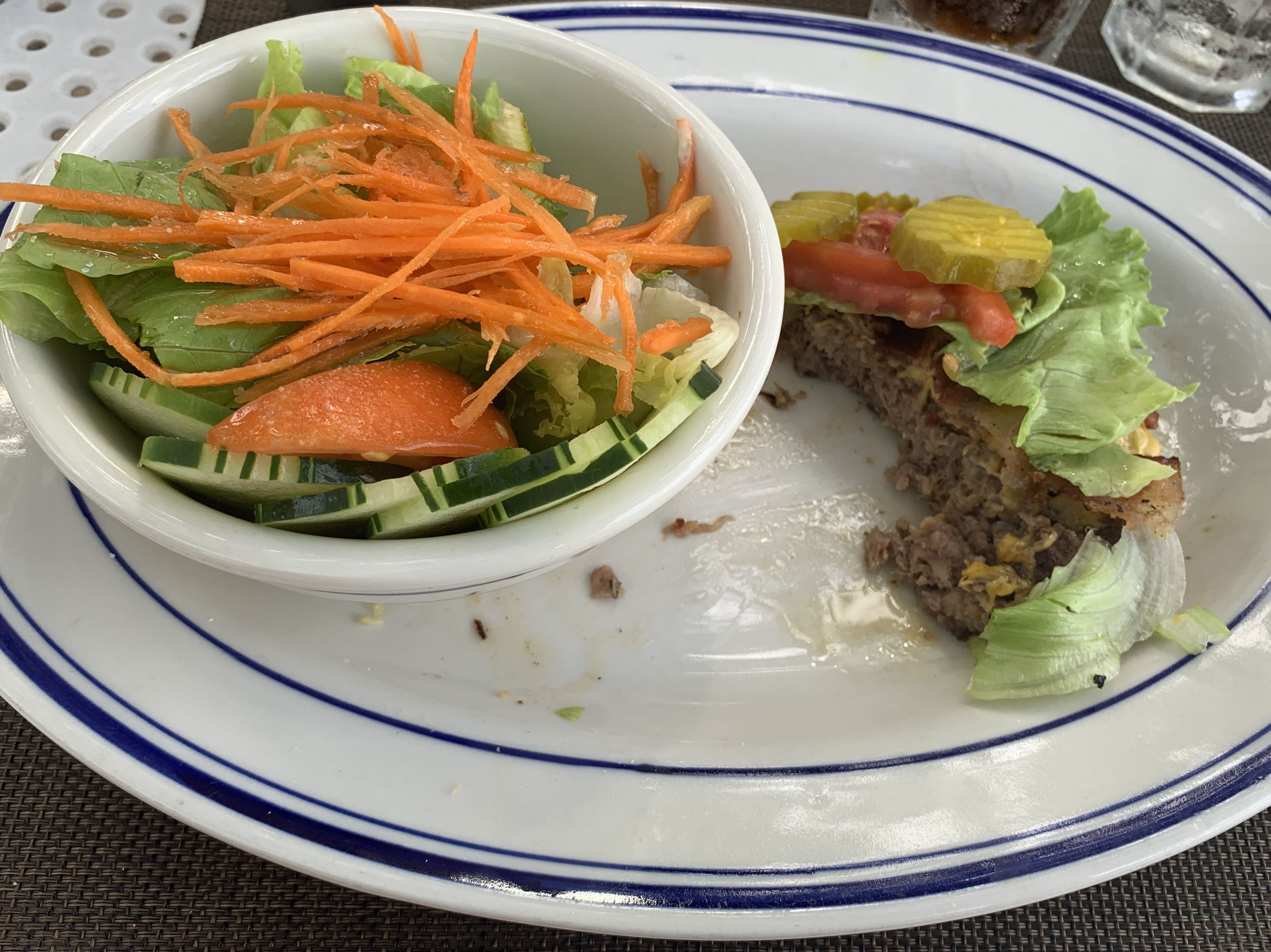 Hamburger and Salad with Olive Oil Keto in Jamaica