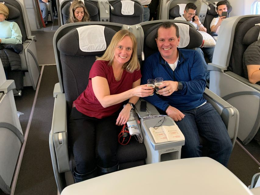 Avianca Business Class A330 Pre-Departure Beverage Cheers