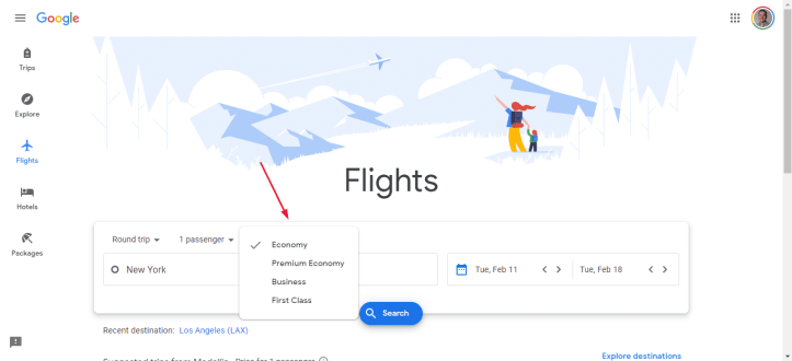 Google Flights Class of Service