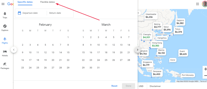Google flights map reset flexible dates