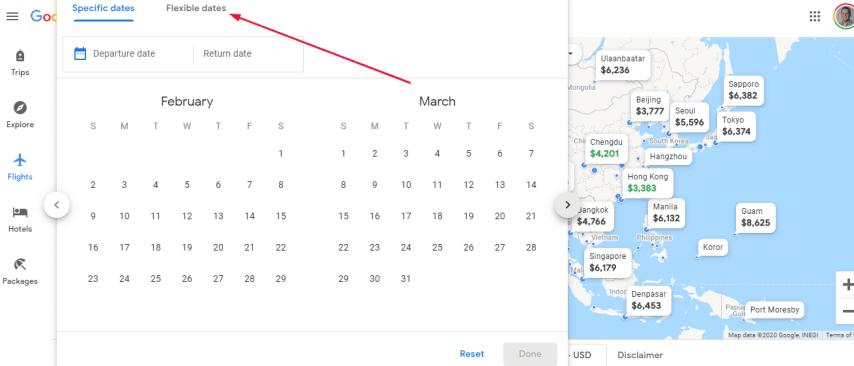 Google flights map reset flexible dates