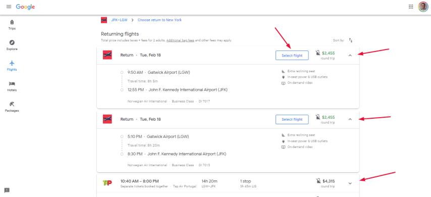 Return flight details basic search