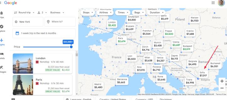 sofia highlighted google flights map
