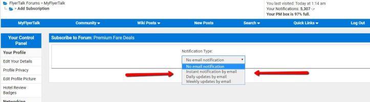 cheap business class fares notification