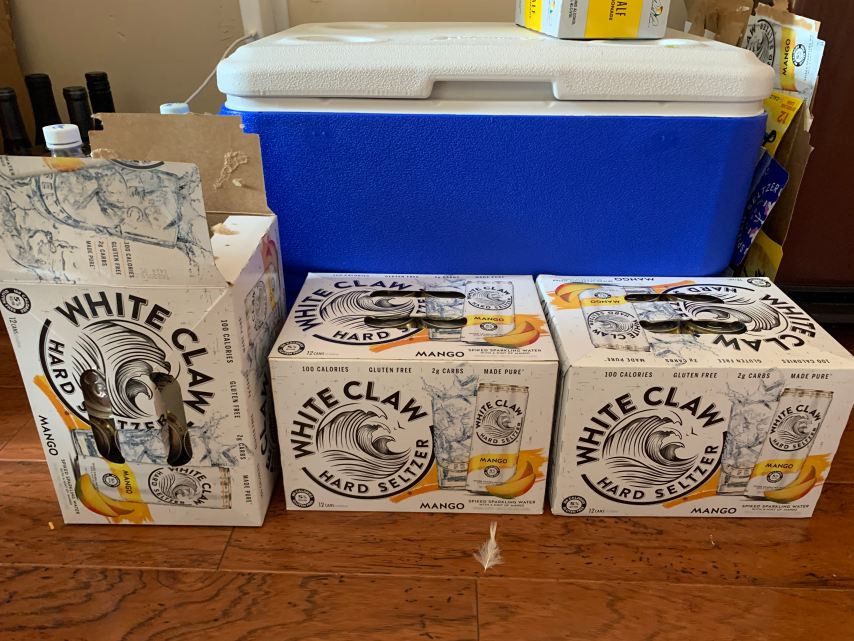 Mango white claw hard seltzer