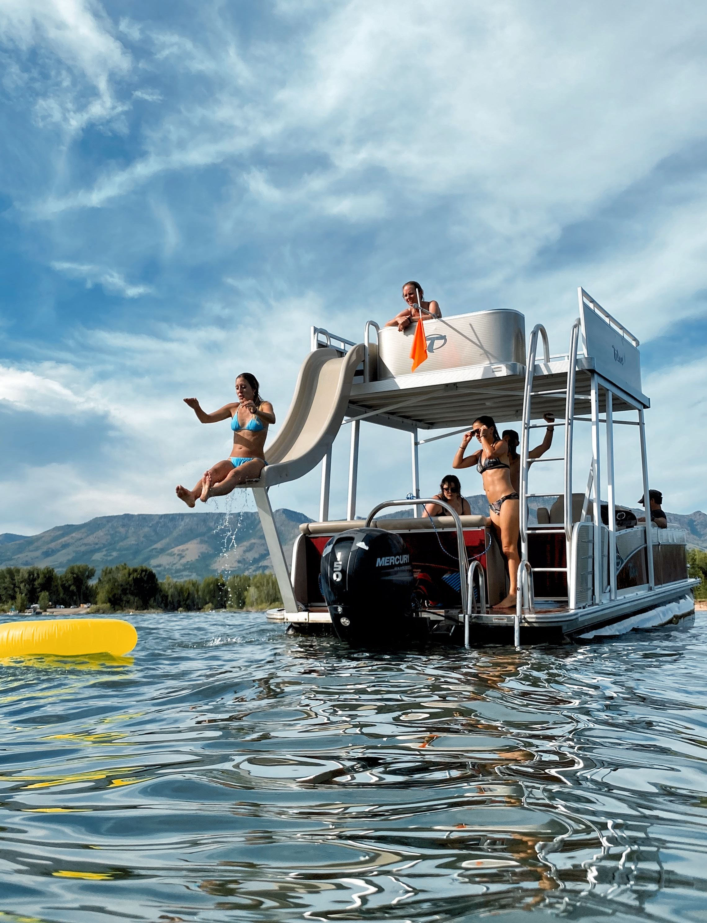 Pineview Reservoir Water Slide Pontoon Boat
