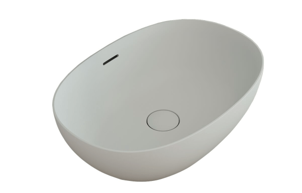 KADO Lussi Cast Solid Surface Thin Edge Vessel Basin with Plug and Waste 500 mm White