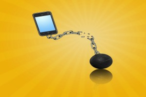 Phone Ball and Chain and reflection
