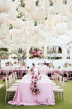 There's nothing more romantic than a summer wedding in a big tent on a vineyard/estate. Think how beautiful it will look lit up with lights from within, under a canopy of stars! I envision floral garlands hanging from the ceiling of the tent, and clustered lanterns like the ones here would be a great addition!
