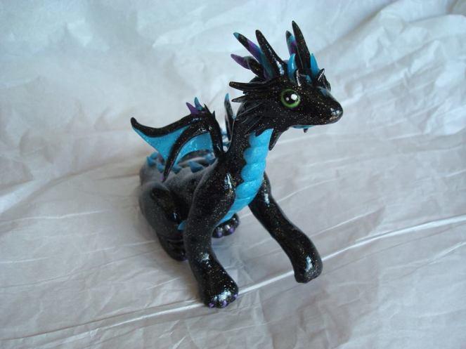 Galaxy dragon, polymer clay, 2015.