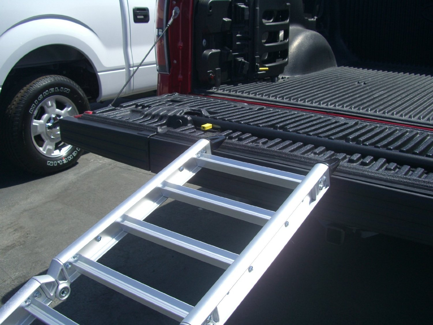 full ramp open i extender bed truck on shop sized beam black readyramp