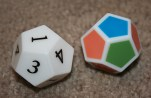 Two dice, one with colors and one with numbers