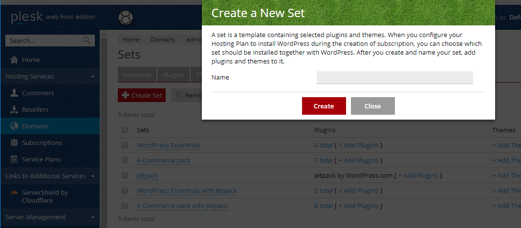 Create a new plugin or theme set - managed wordpress hosting with Plesk