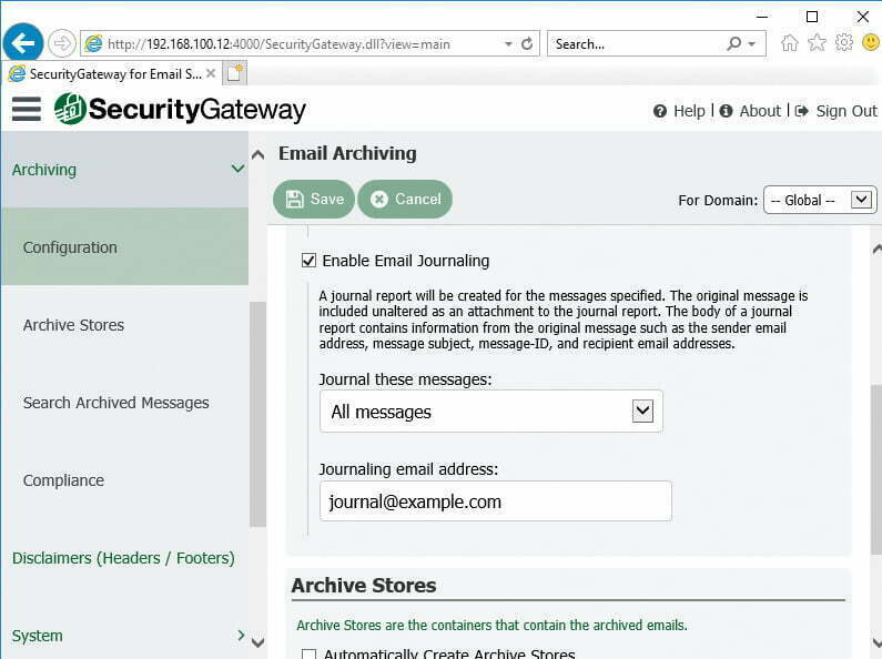 SecurityGateway Archive Journal Reports