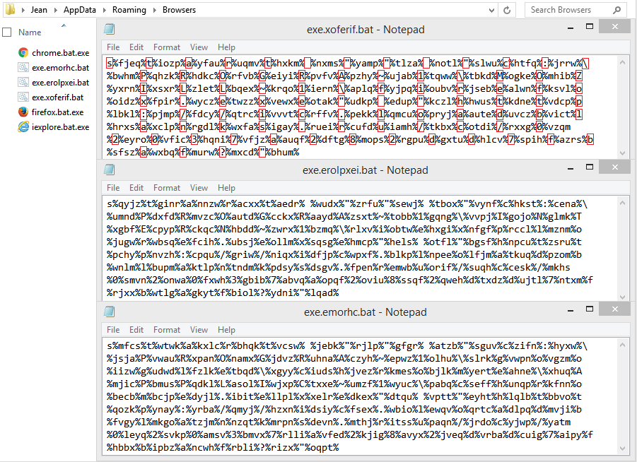 Content of the batch files