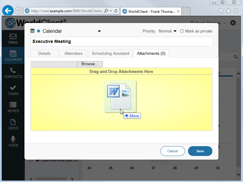 Attachment Support for Meetings, Contacts, Tasks